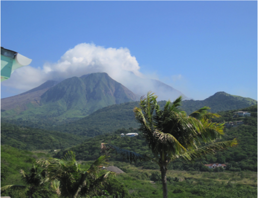 A view of the Souffriere Hills Volcano on Montserrat.