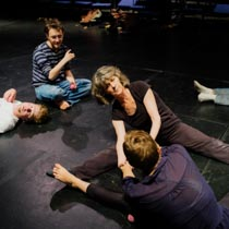 Karen Beaumont working with students on floor