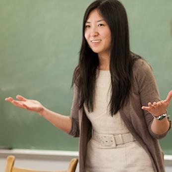 Faculty member Yinxue Zhao in the classroom.