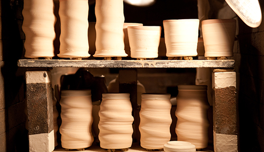 Ceramic mugs waiting to be fired