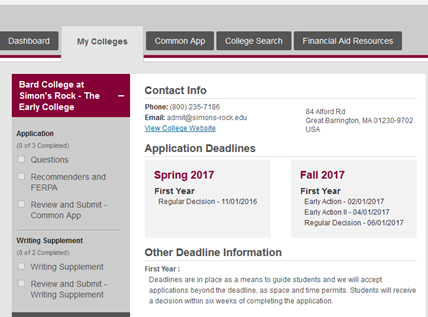 My College Common App Screen Shot