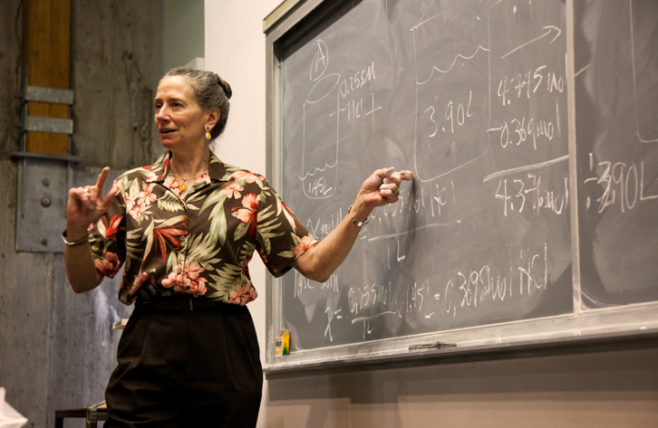 Professor Patricia Dooley in Fisher Lecture Hall.
