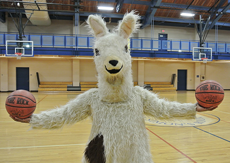 Simon's Rock mascot at a school basketball game