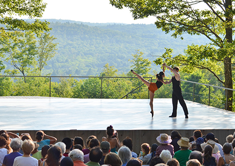 A performance of Jacob's Pillow Dance Society on their Inside/Out stage