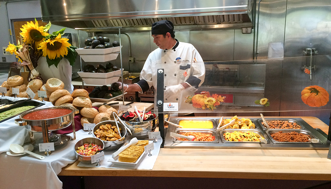 Food station in dining hall