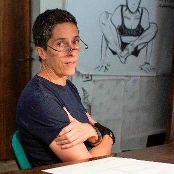 Alison Bechdel with drawing