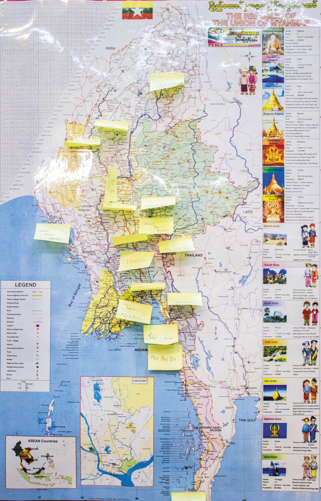 Post it notes on map